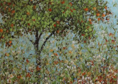 Flower Garden With Orange Tree 120cm x 100cm Sold