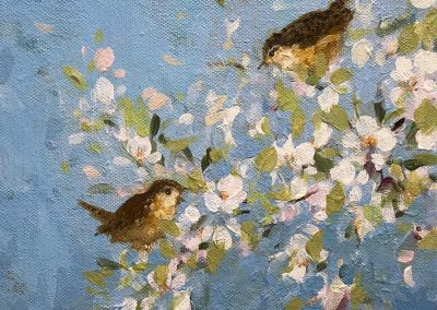 Wrens On Blossom 20cm sq £280