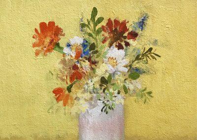 Garden Flowers on Yellow 25cm sq 3385