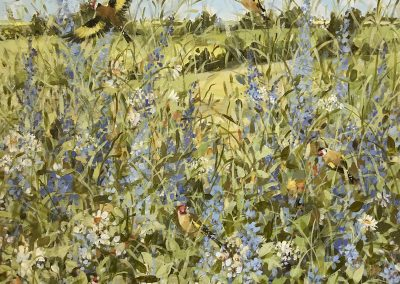 Goldfinches And Summer Flowers 60cm sq £1000